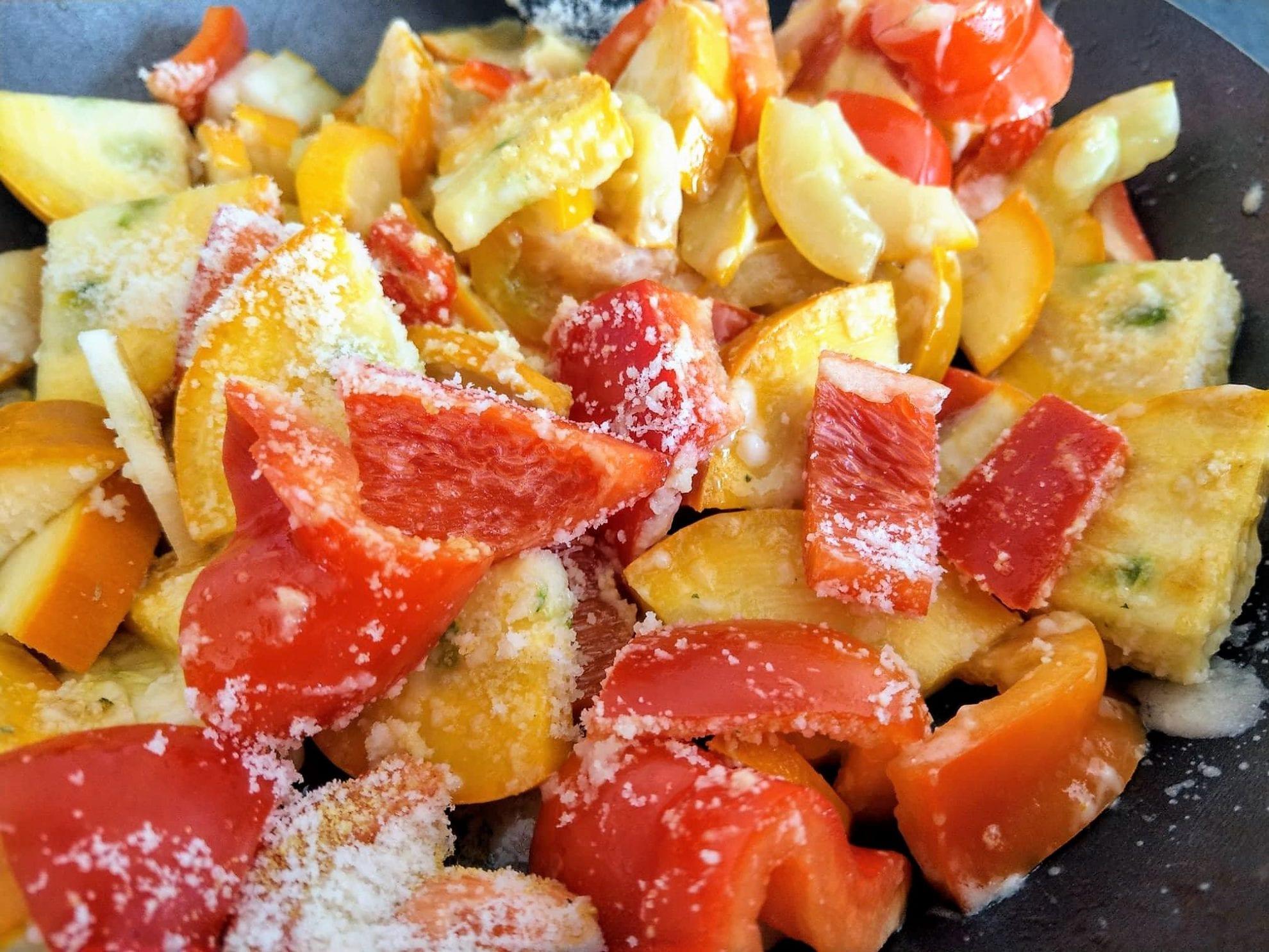 12 von 12 im September 2018, Gemuesepfanne, Paprika, Zucchini, Parmesan, Kochen, Mittagessen